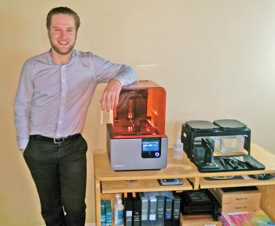 Curtis VanKasteren with 3D printer