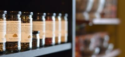 Spices on a shelf